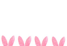 Pink Furry Bunny Ears bottom border Royalty Free Stock Photography