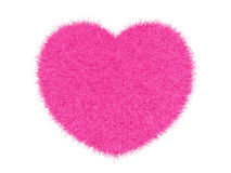 3d pink furry heart. Pink furry heart on white background 3d render stock illustration