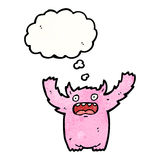 Pink furry monster cartoon Stock Photography