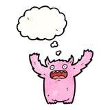 Pink furry monster cartoon Stock Photography