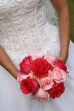 Pink & Fuschia Bouquet. Modern slant picture of bridal bouquet Stock Photo