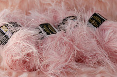 Pink fuzzy yarn Stock Photo