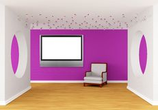 Pink gallery with lcd TV Royalty Free Stock Photos