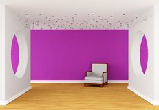 Pink gallery's hall Royalty Free Stock Image