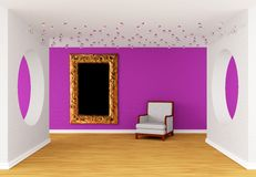 Pink gallery with white chair Royalty Free Stock Photography