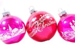pink gammala prydnadar för jul tre Royaltyfri Fotografi