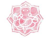 Pink Ganesh Lotus Mandela. Water colour Royalty Free Stock Photos