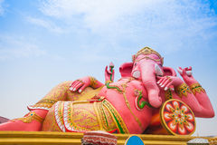 Pink ganesha in relaxing protrait on blue sky. Thailand Royalty Free Stock Photo
