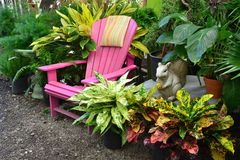 Pink garden lounge chair Royalty Free Stock Image