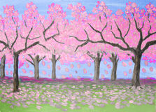 Pink garden, oil painting Stock Image