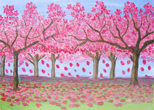 Pink garden, oil painting Royalty Free Stock Photography