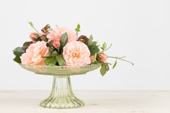 Pink garden rose arrangement with copy space Stock Images