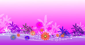 Pink garden and water. Landscape  illustration Stock Images