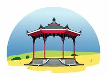 Pink gazebo. Vector illustration of a bandstand, EPS 8 file Stock Photos