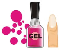 Pink gel nail lacquer and objects. Pink gel nail lacquer with pink drops and finger Stock Image