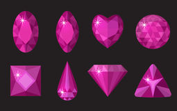 Pink gems set. Jewelry, crystals collection isolated on black background. Royalty Free Stock Photo