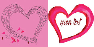 Pink geometric heart on white backdrop Stock Images
