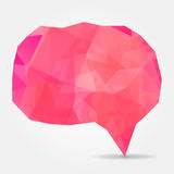 Pink geometric speech bubble with triangular polygons Stock Photos