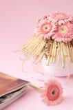 Pink gerbera flowers in vase Stock Photos