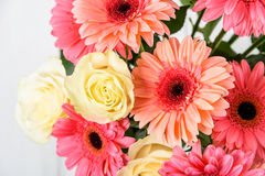 Pink Gerbera Flowers And White Roses Bouquet Stock Photography