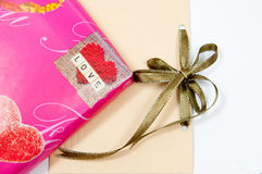 Pink Gift. Gift holiday bow on white background Stock Image