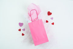 Pink gift bag background Stock Photos