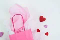 Pink gift bag background Royalty Free Stock Photos