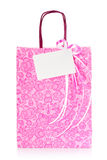 Pink gift bag with blank tag Stock Photos