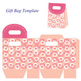 Pink gift bag template with circles, Vector illustration Stock Images