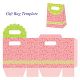 Pink gift bag template with floral pattern Royalty Free Stock Photography