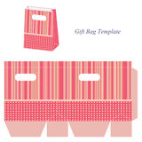 Pink gift bag template with stripes and dots Stock Image