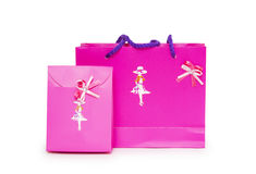 Pink gift bags on a white background. Stock Photography