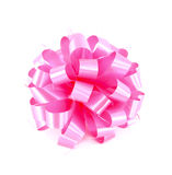 Pink gift bow. On white background Stock Photo