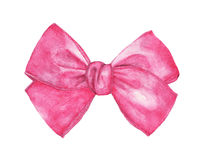Pink gift bow isolated on white background. Watercolor drawing.  Stock Images