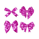 Pink gift bow. Watercolor drawing. Illustration. On white background Royalty Free Stock Photos