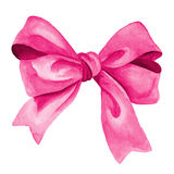 Pink Gift bow. Watercolor illustration Stock Photo