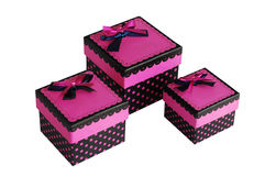 Pink gift box. Three beautiful pink gift boxes Royalty Free Stock Images