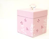Pink Gift Box. Girly pink decorated gift box and gift tag on white background Stock Photo