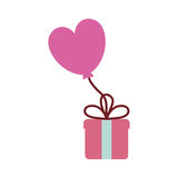 Pink gift box balloon heart festive valentine Royalty Free Stock Images