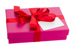 Gift box with blank card Royalty Free Stock Photos