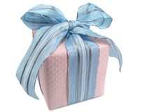 Pink Gift Box with Blue Ribbon. Gift box with pink windowpane wrapping tied with blue ribbon Stock Photo
