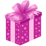 Pink gift box with bow Royalty Free Stock Photo