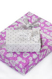 Pink gift box with bow Royalty Free Stock Images