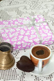 PINK GIFT BOX COFFEE CHOCOLATE HEART Stock Photography