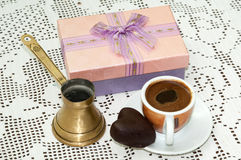 PINK GIFT BOX COFFEE CHOCOLATE HEART Royalty Free Stock Photography