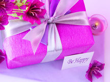Pink gift box with flowers Stock Photography