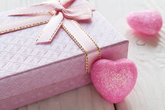 Pink gift box with a heart Stock Photos