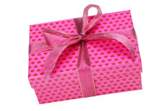 Pink gift box with heart pattern Royalty Free Stock Image