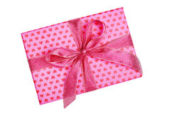 Pink gift box with heart pattern Stock Image