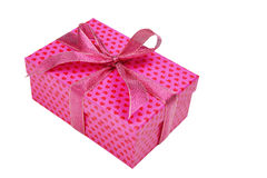 Pink gift box with heart pattern Stock Photos